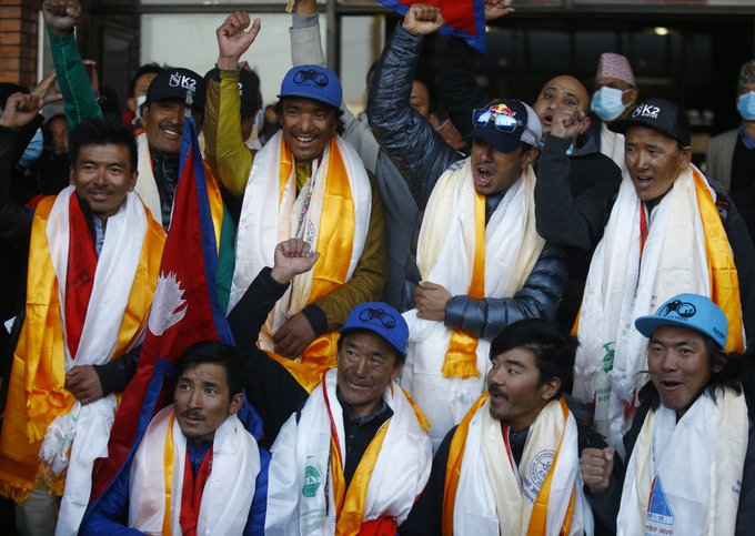 Nepal team that scaled K2 receive heros welcome back home Photo