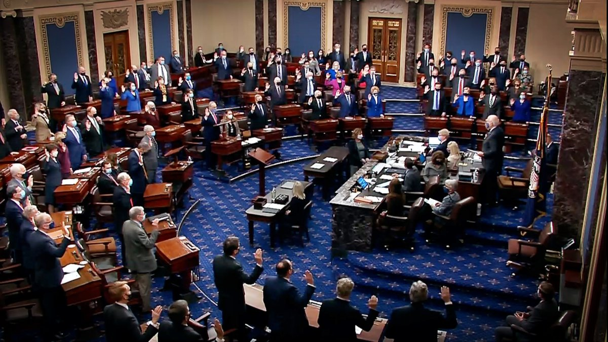 Every single Senator was sworn in today to do impartial justice according to the Constitution and Laws of the United States in the impeachment trial of Donald Trump.