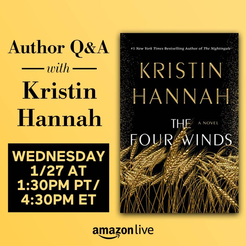 Join Kristin Hannah for a Live Q&A tomorrow at 1:30pm PT/4:30pm ET on #AmazonLive.  She'll be discussing her new book, THE FOUR WINDS, and more with Amazon Books Editorial Director Sarah Gelman.  Tune in here: