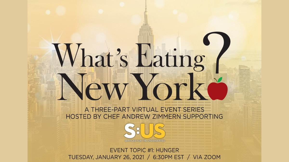 TONIGHT: At 6:30pm ET, join our @billshore and @SUS_org with host @andrewzimmern to talk about hunger and support New York's most vulnerable individuals and their families at #WhatsEatingNY! Don't miss it!