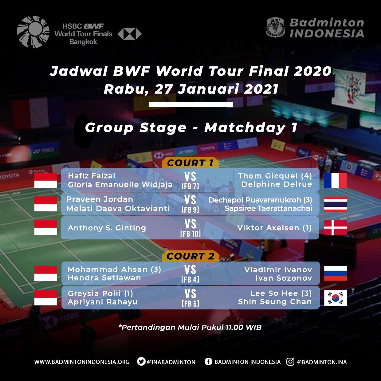 Jadwal wakil Indonesia di BWF World Tour Finals 2020, Rabu (27/1/2021)
