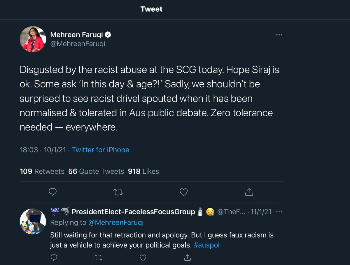 @MehreenFaruqi You are responsible for your words and actions, esp your lies to flame hatred for this country! Example!  #auspol #AustraliaDay2021 #AustraliaDay #AUSvsIND #Australia