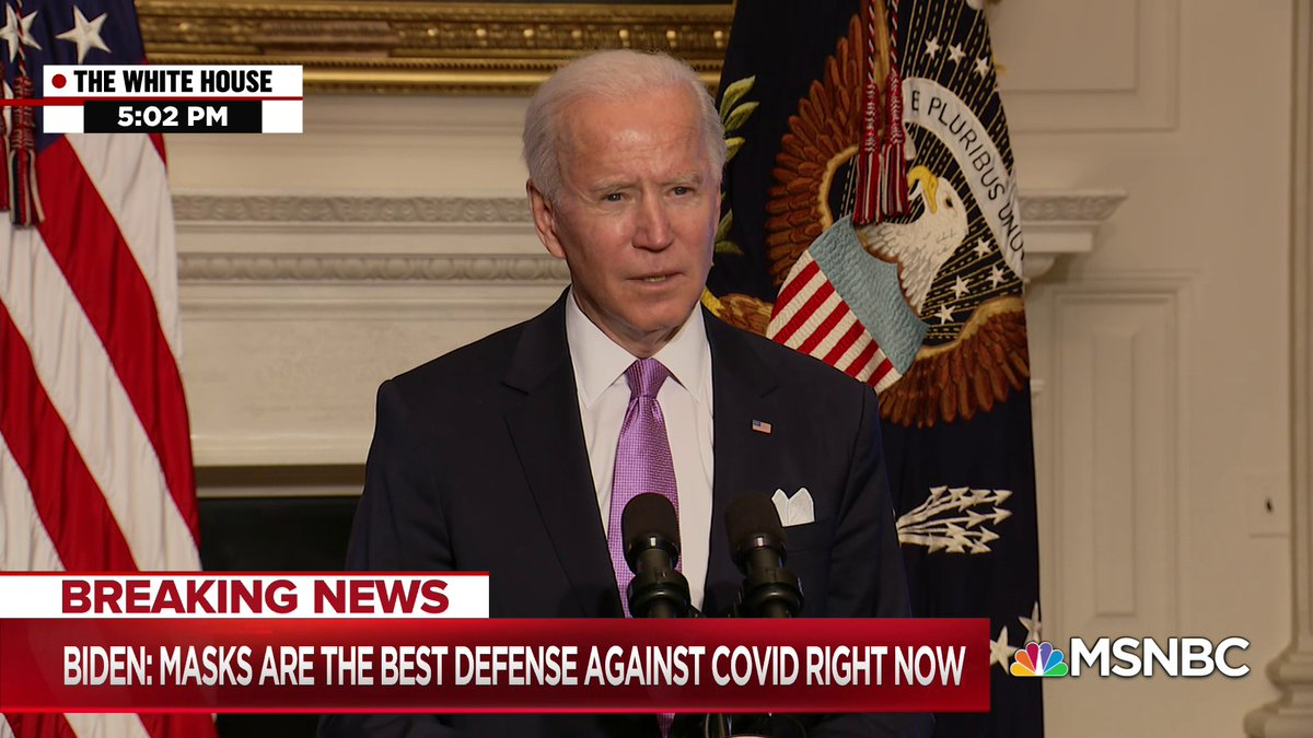 """In the next few months, masks, not vaccines, are the best defense against Covid-19,"" President Biden says, calling on Americans to continue to wear masks for the first 100 days of his presidency."