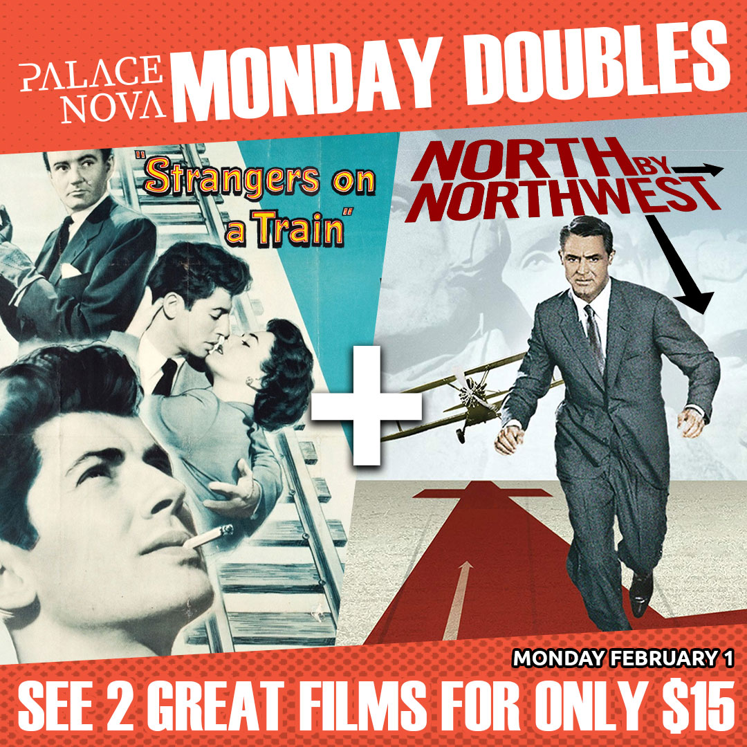 Double the Hitchcock classics for only $15 with two masterpieces from the Master of Suspense on February 1! Tickets on sale at  Alfred Hitchcock's Strangers on a Train (1951) + North by Northwest (1959) #adelaide #alfredhitchcock #classichollywood