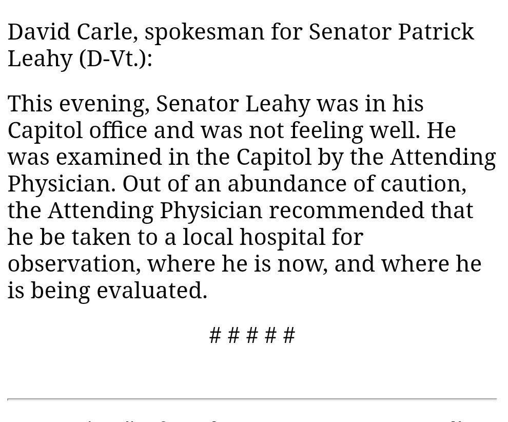 Senator Patrick Leahy, who was set to preside over the impeachment trial, is in hospital.