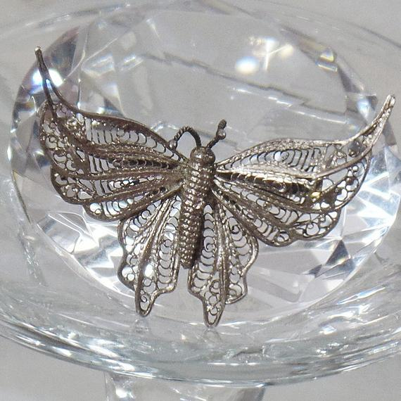 Silver Brooch. Silver Pin. #Antique Victorian Cannetille Silver Butterfly Brooch.   Silver Filigree Butterfly Pin. waalaa. #vintage #shopping #jewelry #jewellery #gifts #wedding #etsy