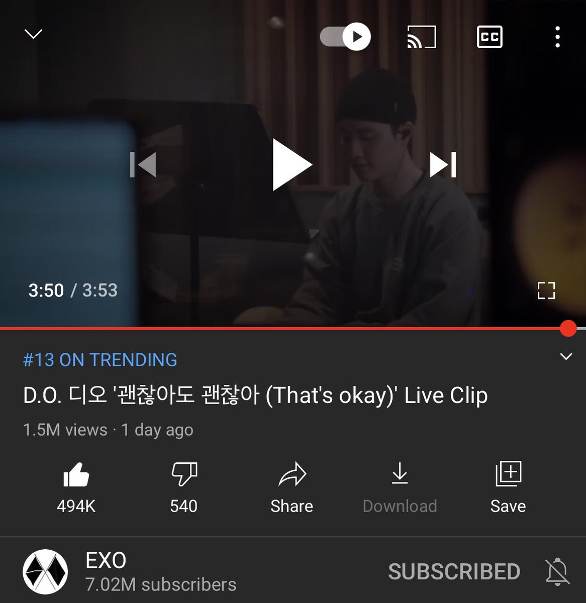 Trending at no.13☺️ exo channel subscribers keep increasing✨ D.O. 디오 괜찮아도 괜찮아 (Thats okay) Live Clip 🖤 watch here: youtu.be/zR043fcuV0Y #kyungsoo #도경수 #디오 #ギョンス