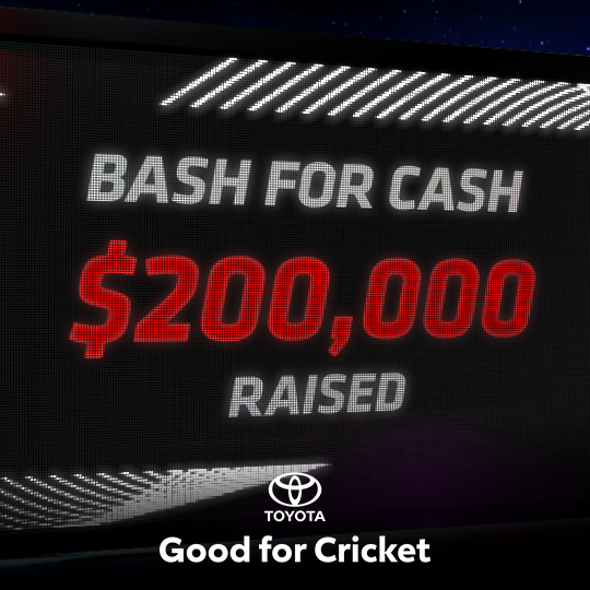 On the final day of the Toyota Bash for Cash, the tally ticked over $200,000, all of which is on its way to selected grassroots cricket clubs all around Australia! Now that's good for cricket!  @Toyota_Aus | #OhWhatAFeeling #ToyotaGoodForCricket