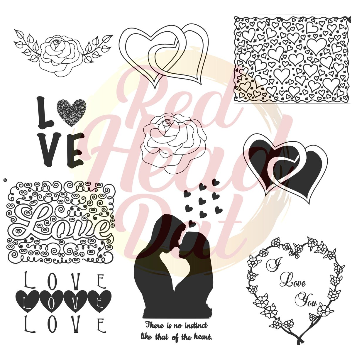 Excited to share the latest addition to my #etsy shop: Love bundle svg, png, pdf, & Jpeg  #black #valentinesday #white #entryway #flowers #love #flower #rose #hearts