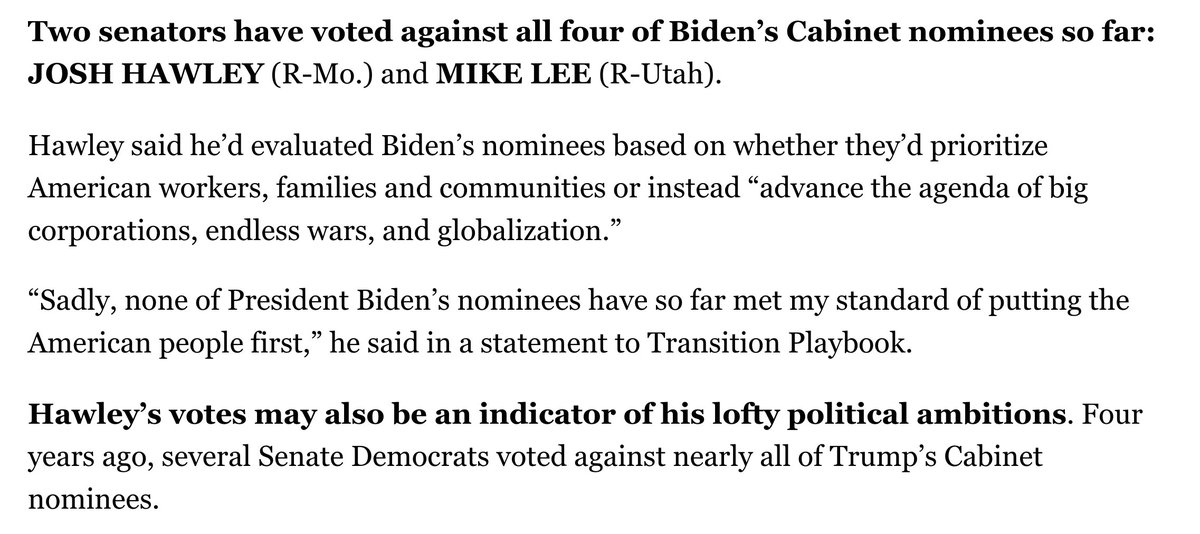 Hawley to @AlexThomp and @theodoricmeyer on voting against all four Biden nominees that have come to the floor: Sadly, none of President Biden's nominees have so far met my standard of putting the American people first. politico.com/newsletters/tr…