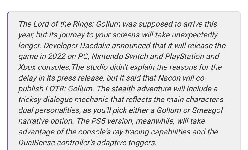 LOTR Gollum delayed until 2022 😢 #ps5news #PS5 #PlayStation5 #gamer #LOTR #Gollum #delayed #badnews #XboxSeries #XboxSeriesS #gamers #gaming
