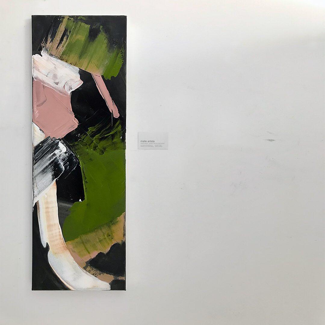 J'adore ces couleurs qui valsent ensemble sur la toile!  Clair de femme #2.  30x10 p. 300$. Dispo  #couleurs #color #noir #black #rose #pink #hope #espoir #vert #green #pure #blanc #white #decor #artspace #clairdefemme #romaingary #emileajar #inspiration #artnow #tableauxtakeout