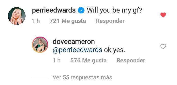 """Perrie comentó en la última publicación de @DoveCameron """"Serías mi novia?"""" y ella le contesto """"Okey, si"""" ♥️♥️♥️  #Confetti @LittleMix"""