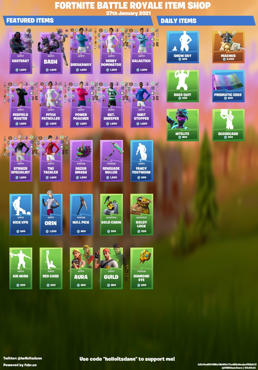 """Fortnite Item Store for 27th January 2021  Use code """"helloitsdann"""" to support me! <3 #ad"""