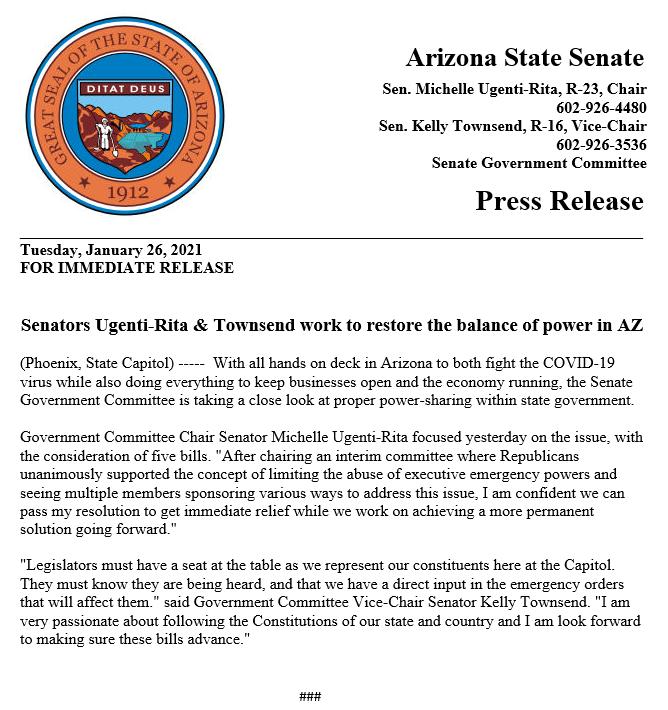 FOR IMMEDIATE RELEASE: Senators @MichelleUgenti & Townsend work to restore the balance of power in AZ  #AZSenate