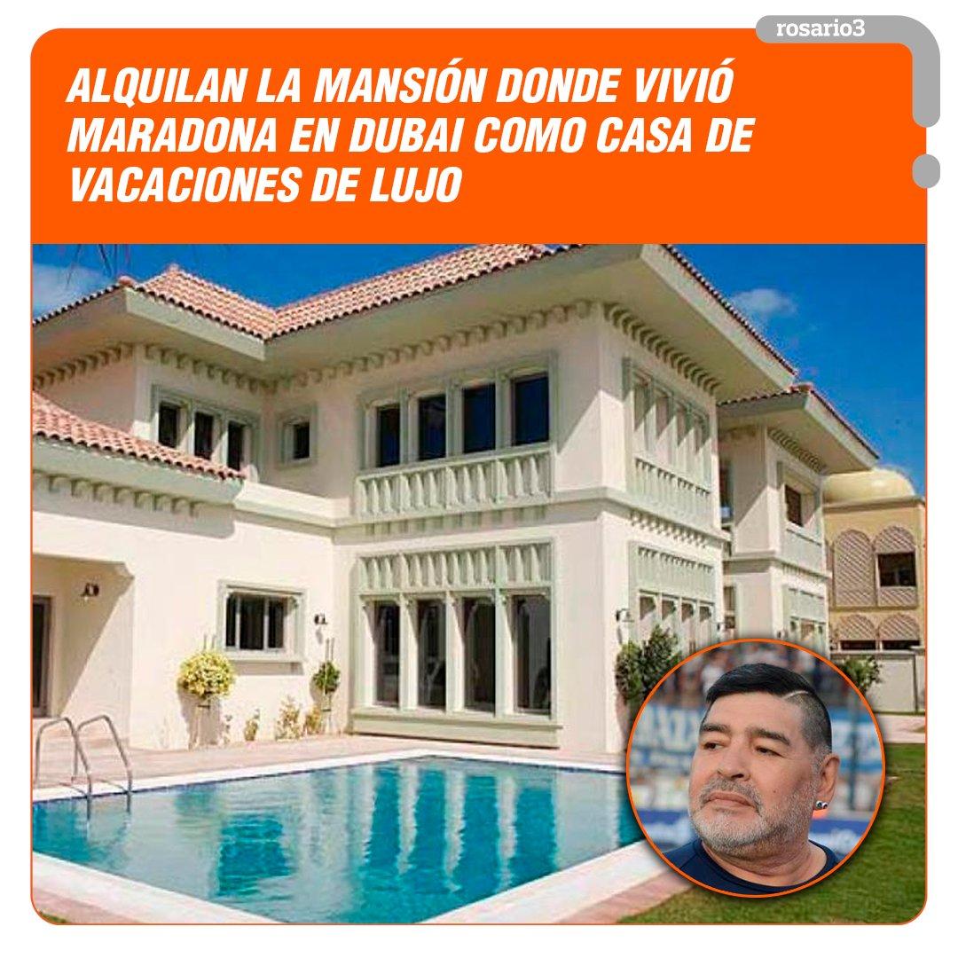 🏠🔟La propiedad donde vivió #Diego, ubicada en el exclusivo barrio The Palm Jumeirah, tiene seis habitaciones, pileta y playa privada.  #Rosario3 #Maradona https://t.co/tOyUq5Sr35