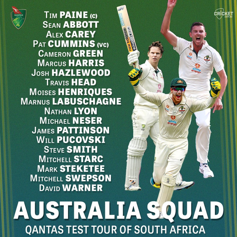 Thoughts on Australias 19-man squad for the proposed Test tour of South Africa? Full story here: cricketa.us/3aaUcOc #SAvAUS
