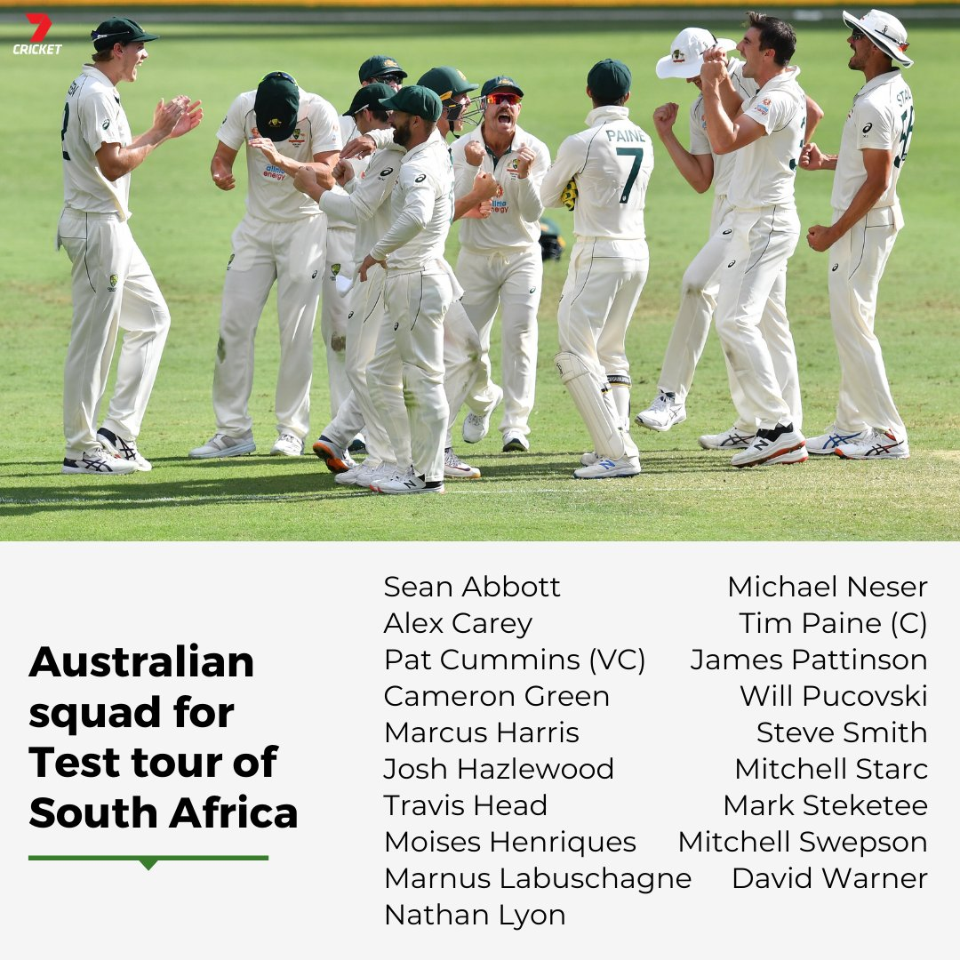 A double squad announcement!  The players named for the Test tour of South Africa and the T20 tour of New Zealand ⤵️  #SAvAUS | #NZvAUS