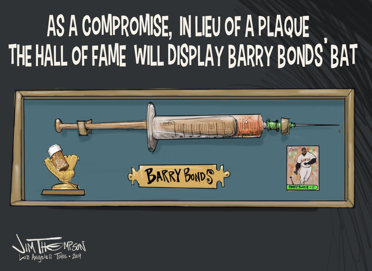 This was my first sports cartoon for @latimessports  #HOF2021 #HOF #barrybonds #MLBHOF