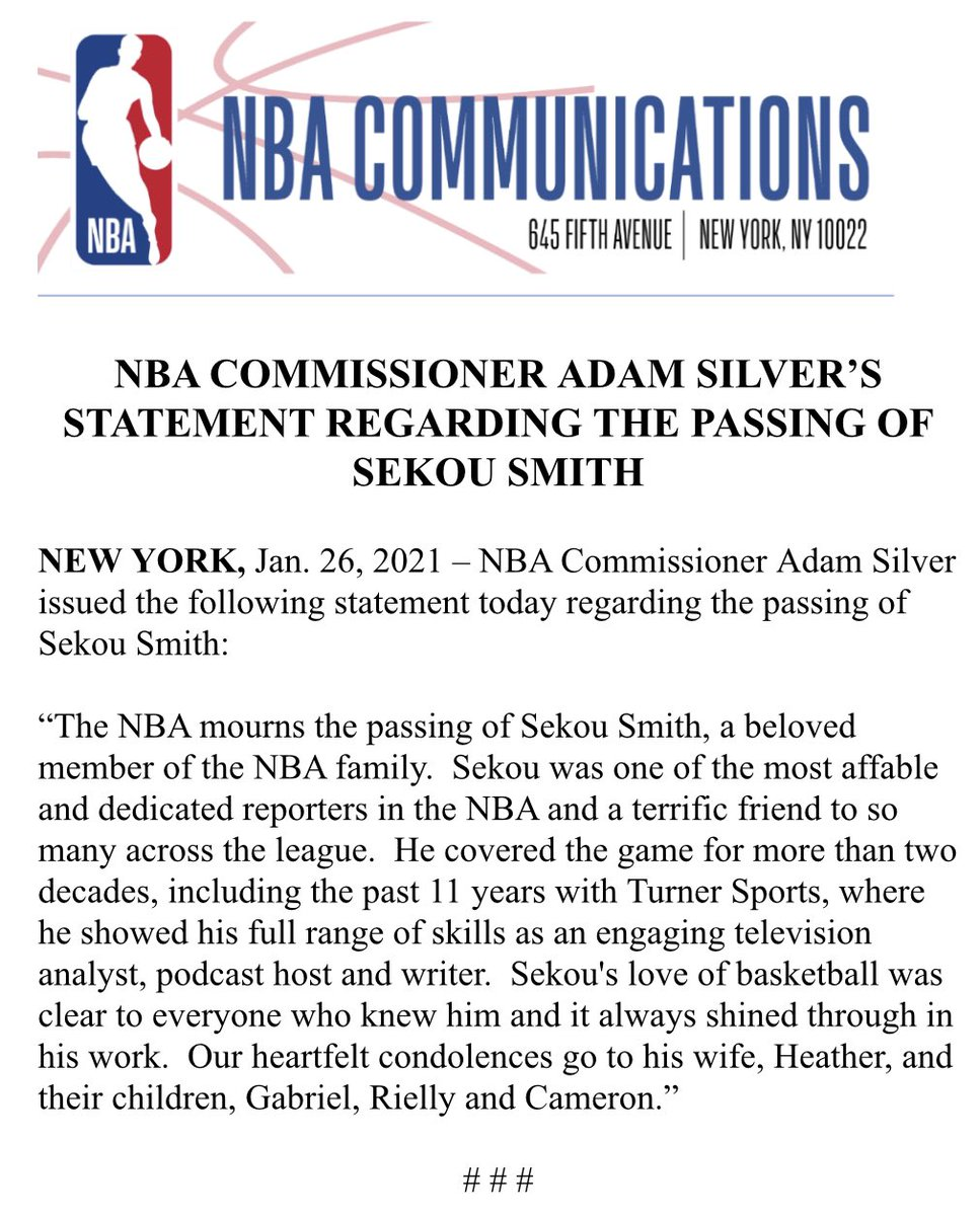 NBA Commissioner Adam Silver issued the following statement today regarding the passing of Sekou Smith