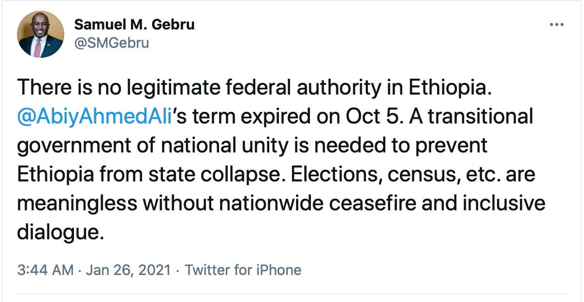 - Only #Ethiopia-ns decide who is the legitimate federal authority in #Ethiopia - not foreigners like @SMGebru who know nothing better than peddling lies!  - Irrelevant, hollow pontifications by non-citizens such as @SMGebru are not only meaningless, but equally immaterial!