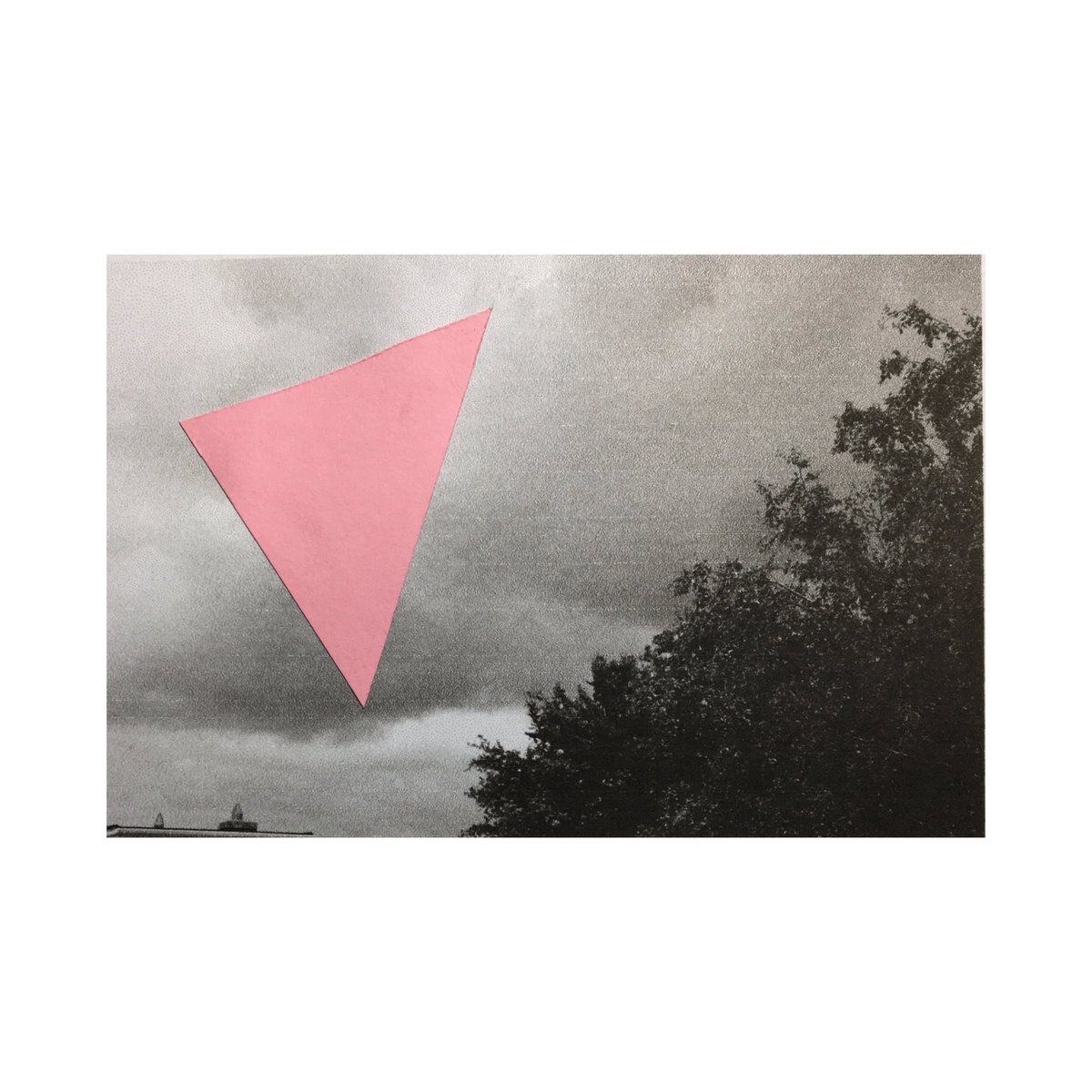 I tore a hole through the sky, collage on digital print, 2021  #print #collage #pink #landscape