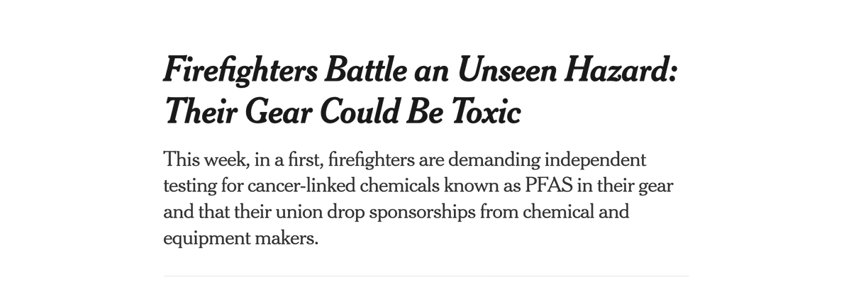 """""""The only people who were saying these chemicals were safe were the people who make it.""""  —Words of a firefighter who worries that his firefighting gear (the stuff meant to protect him) causes cancer.  Now, firefighters are fighting back. By @HirokoTabuchi"""