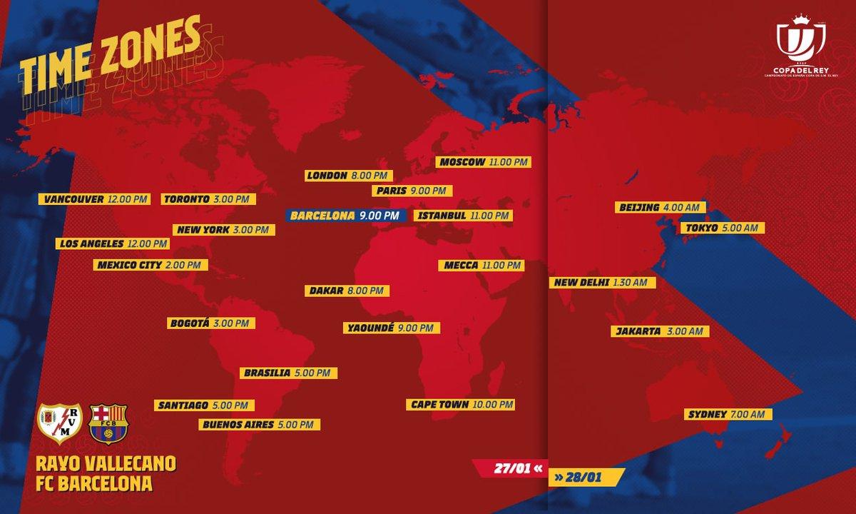 ⌛ #Rayo Barça   Octavos de Copa  🗺 ¿Desde qué parte del mundo veréis el partido?