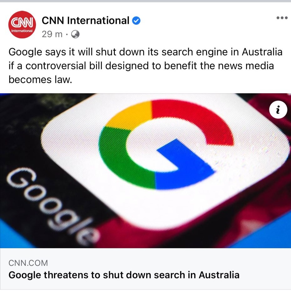Last week #Google threatened to shut down search if Australia pushes controversial bill designed to benefit the news media becomes law. How will this news affect #SEO in the region?  Article:   #AnnelleDigital #CNN #News