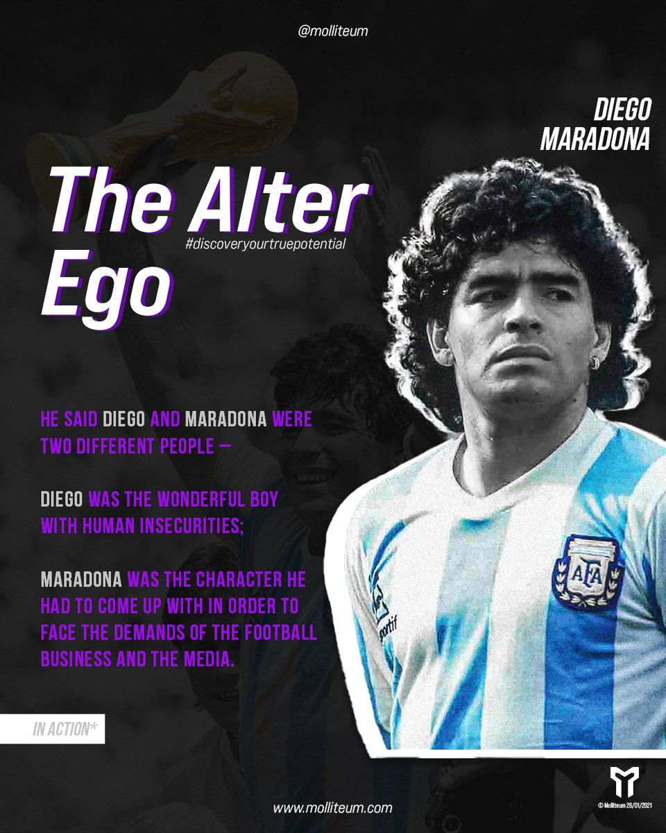 The alter ego, in some form or another, can be found all throughout the history of sport. If you look hard enough, you can spot the individuals that have utilized this tool in the past and present.  #maradona #alterego https://t.co/PnrlIIoejb