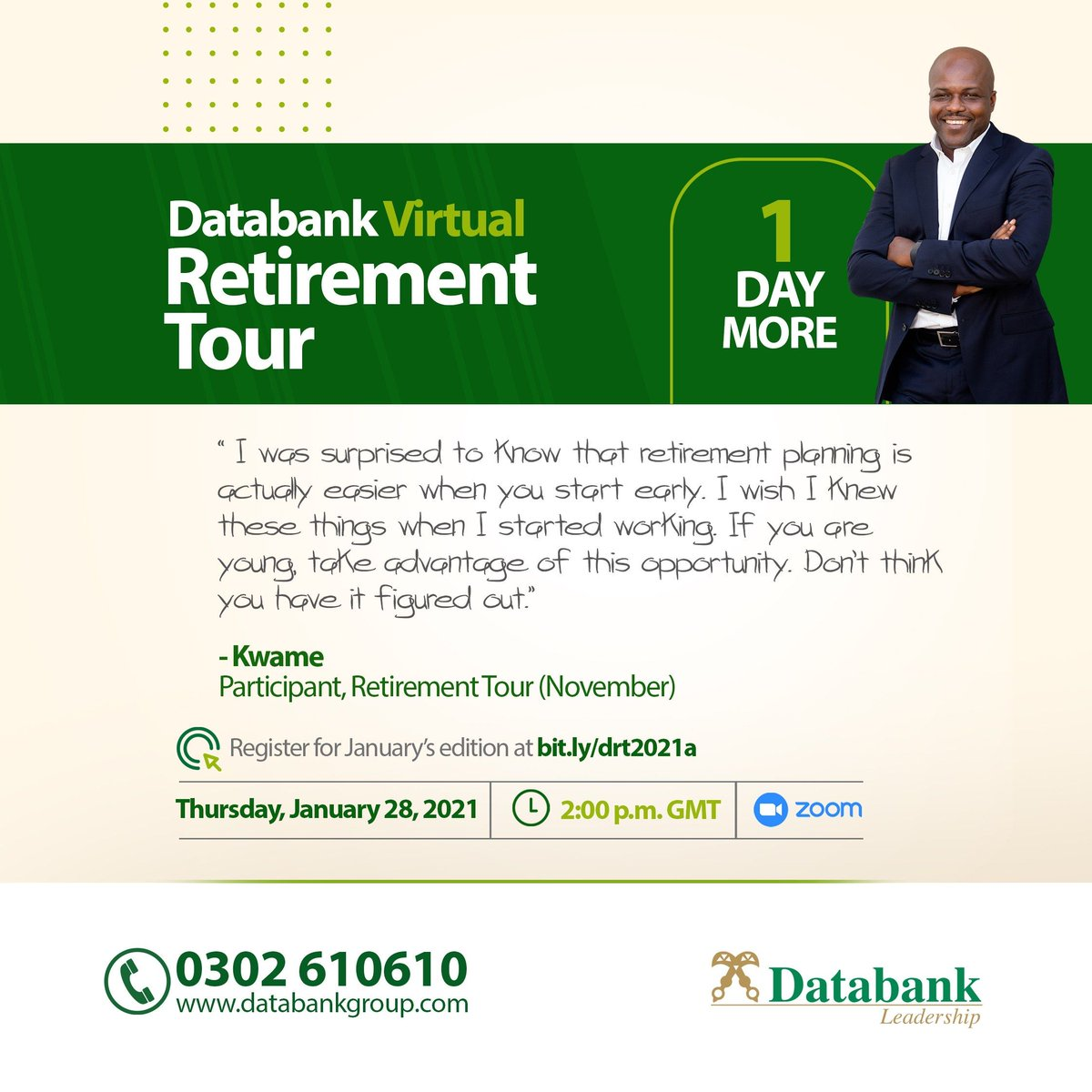 1 Day More!  Get to educate yourself at the Databank Virtual  Retirement Tour on Thursday,28th January, 2021, 2:00 p.m. prompt.  Register right here 👉🏾 https://t.co/6CtcivkQ0N  #DRT2021 #Retirement #Investment https://t.co/lBwXVtGVBk https://t.co/D99cwU0poj