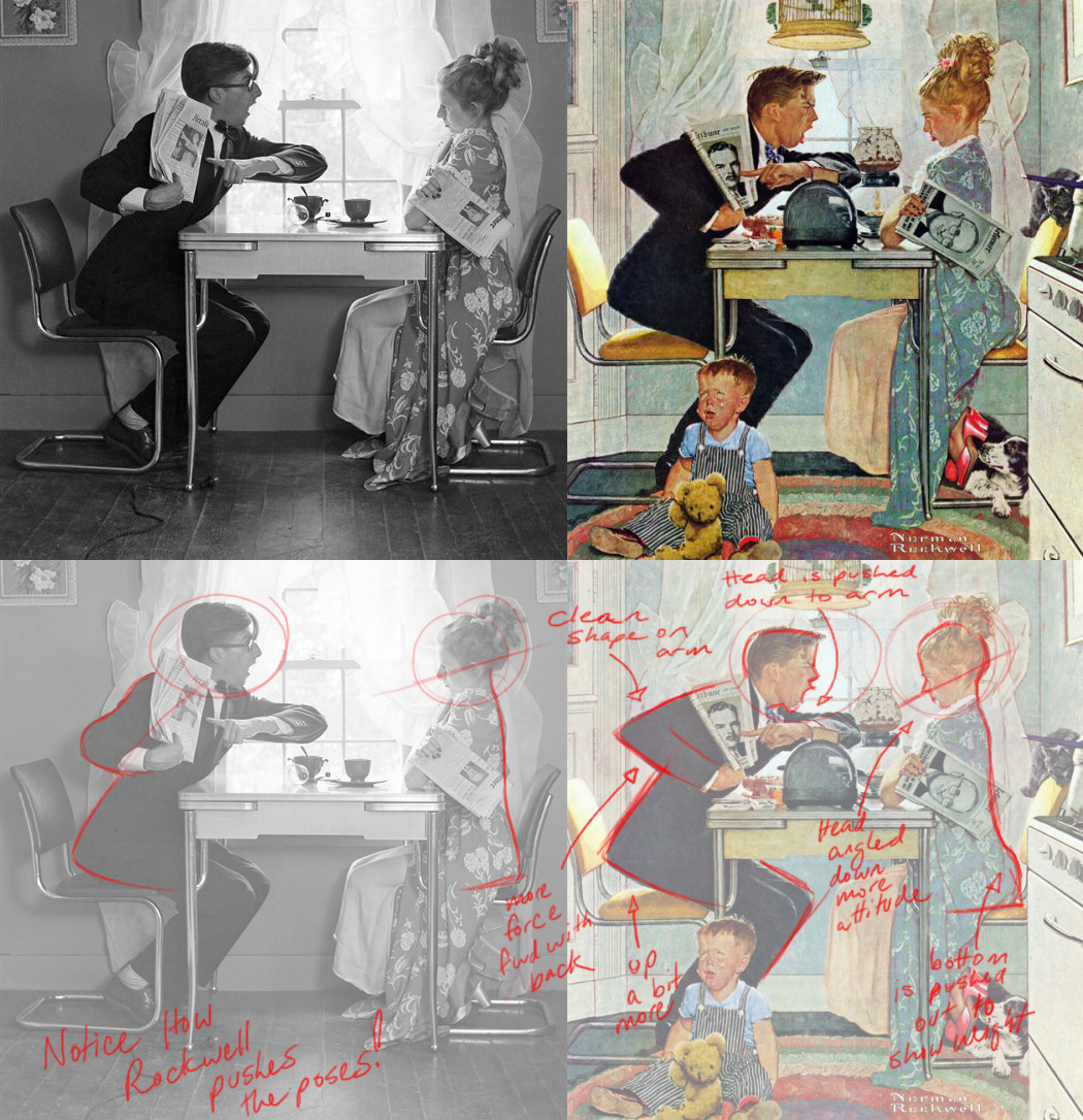 Another oldie from animation lectures. The discussion was about posing & how you can push your reference. #NormanRockwell used live models then exaggerated the areas he felt could be more dynamic. Here is one of the examples I used (click to see draw-overs from talk):