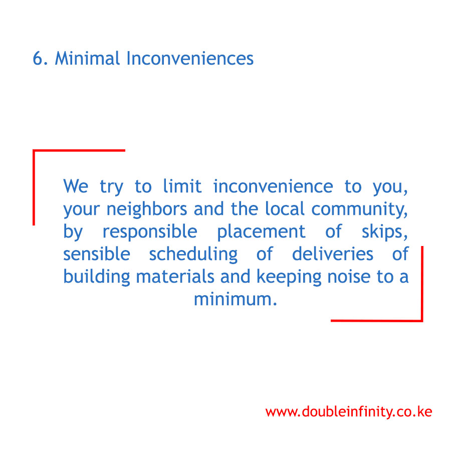 Why should you choose us for your next project? 6. We ensure that we limit the number of inconveniences at the site and around. Contact us on 0720703816 for construction services. #project #construction #constructionworker #ConstructionServices #architecture #BetterTogether