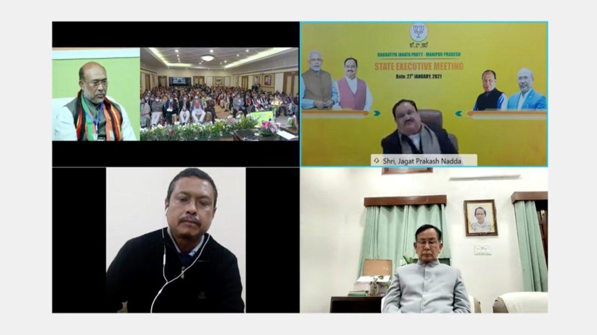 Manipur has seen 10 lakh new bank accounts under Jan Dhan Yojana.   1.56 lakh gas connections had been provided to Manipur under Ujjwala Yojana.  - BJP National President Shri @JPNadda