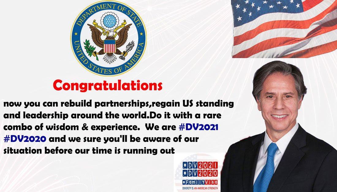 Congratulations 🎉 Mr. @SecBlinken  #DV2021 #DV2020