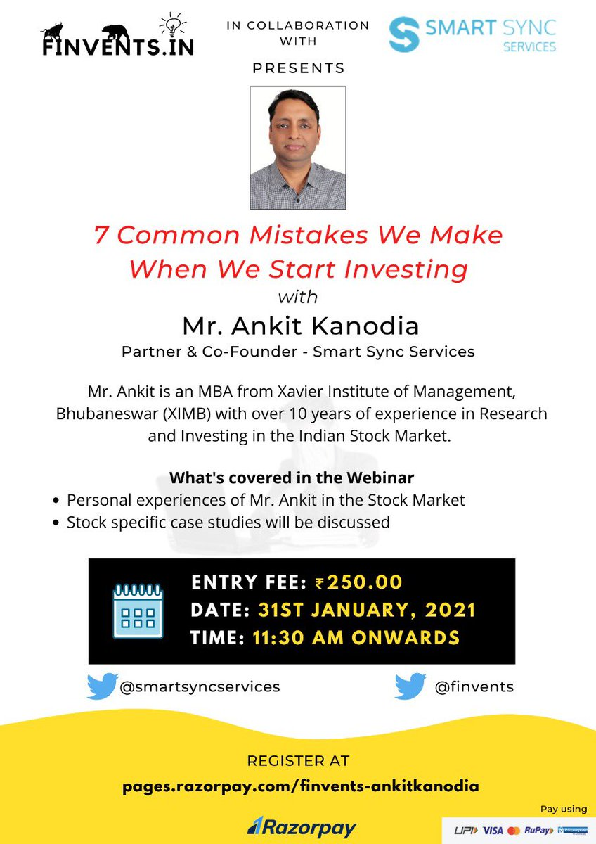 "Join us on 31st January 2021 as we welcome @kanodiaankit12 of @SmartSyncServ to talk about ""7 Mistakes We Make When We Starr Investing""  Link:"