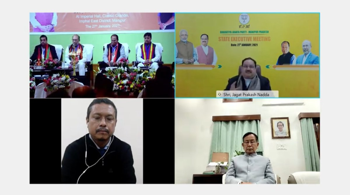 There's immense opportunity in Manipur related to #AatmanirbharBharat.  I'd request the state government to try and implement how local products can become a country-wide brand, supporting the idea of vocal for local.  - BJP National President Shri @JPNadda