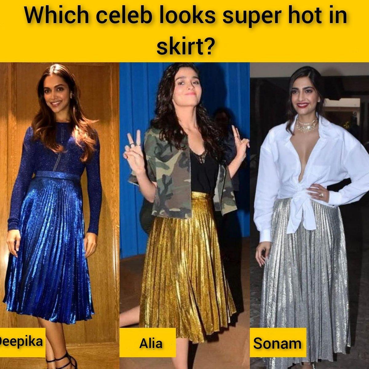 Which celeb looks super hot in skirt? @deepikapadukone @aliaa08 @sonamakapoor  Follow us on @iwmbuzz  #deepikapadukone #aliabhatt  #SonamKapoor #hotceleb