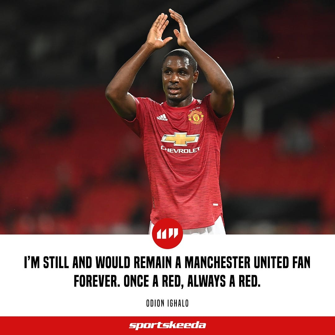 Departing Man Utd striker Odion Ighalo who got 2 goals in 5 Europa League appearances for the Red Devils pledges his long time love for the club. 👋 #ManUtd #Ighalo #EPL #PremierLeague