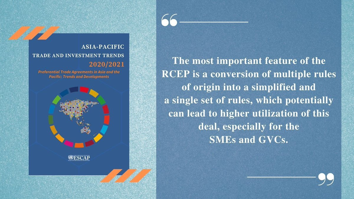 #RCEP is gigantic 🏃 towards #trade integration in #AsiaPacific which accounts globally for:                  30% 🌐 GDP 💲                         30% 🌐 population 🙎                   30% 🌐 trade 🚚                     Read the report:  #TIWeek2021