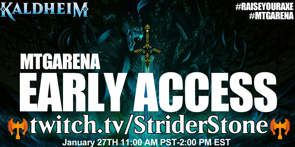 01/27/2021 at 11:00AM PST, we are going to blow up some lands in the early access event.   #RaiseYourAxe #MTGArena #Sponsored by @wizards_magic