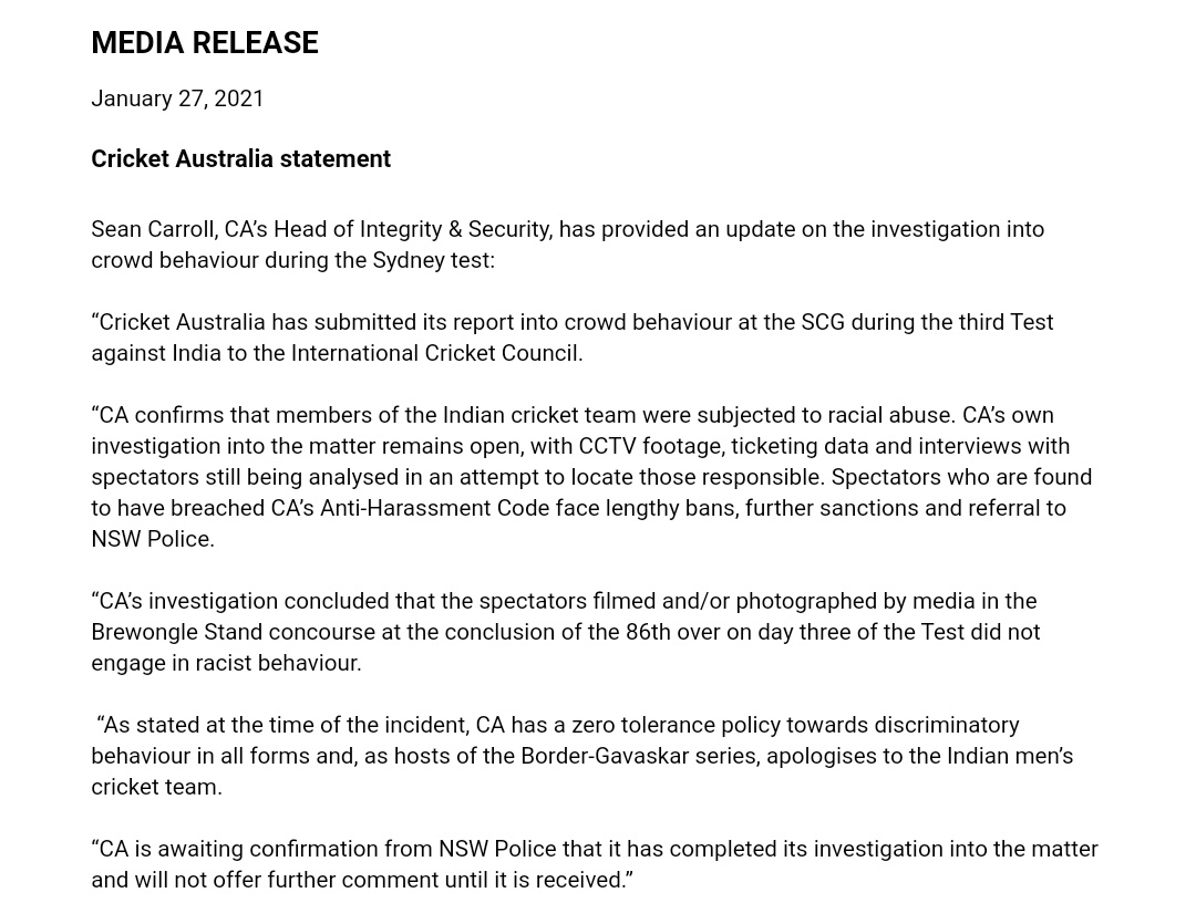 Cricket Australia releases statement on crowd behaviour during SCG Test against India, confirms there was racial abuse, spectators in question face lengthy bans and sanctions.    #AUSvIND #SydneyTest #INDvAUS
