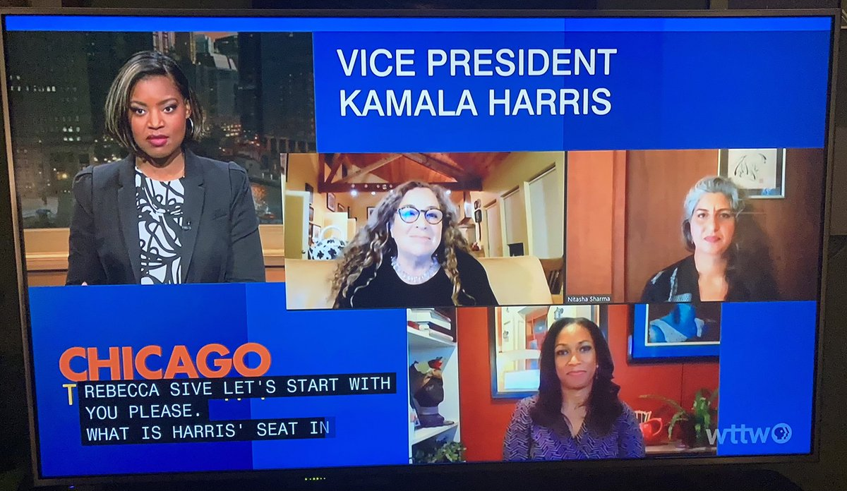 Great insights from @RebeccaSive @SouthSideGrl312 and @nitashatsharma on #ChicagoTonight with @BrandisFriedman regarding the significance of @VP holding the 2nd highest executive office in the country. #WomenLeaders #Multicultural #EquitablePolicies