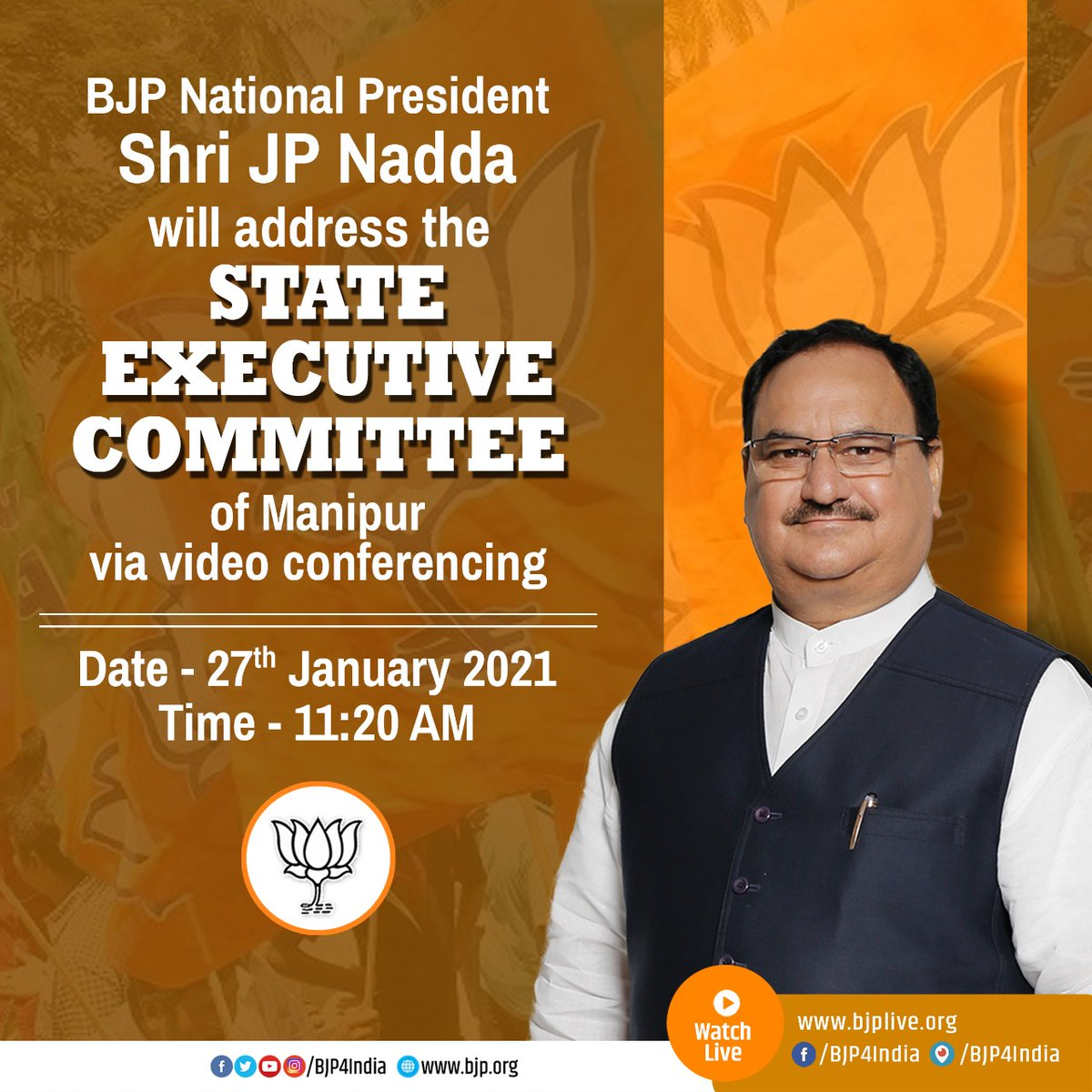 BJP National President Shri @JPNadda will address the @BJP4Manipur State Executive Committee via video conferencing.  Watch Live at  •   •   •