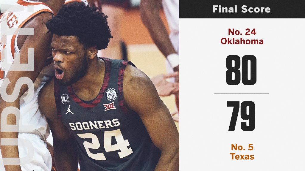 🚨 UPSET IN AUSTIN 🚨  Down to the wire but No. 24 Oklahoma pulls out the W vs. No. 5 Texas.