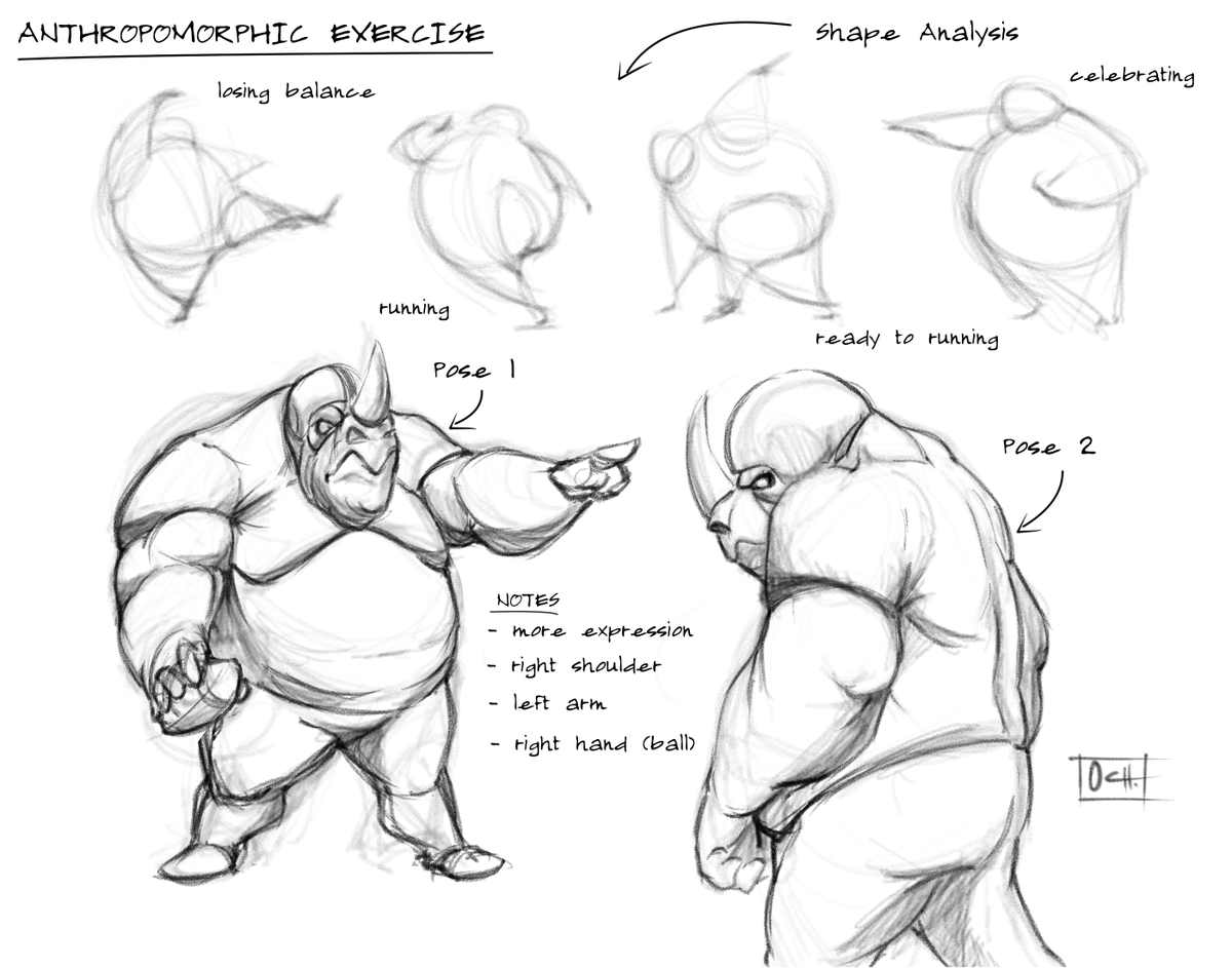 Early-stage of an anthropomorphic exercise.  #sketch #study #anatomy #animal #anthropomorphic #poses #football #sports #rhino  #conceptidea #characterdesign