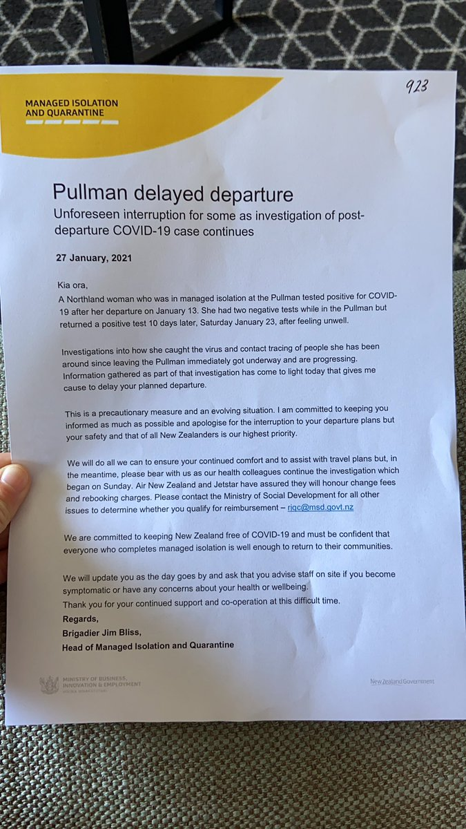 3 hours before we were meant to leave the Pullman, and three days after the Northland case emerged, and this is our FIRST communication from the govt on the situation. Break our hearts #MIQ #COVID19nz #NewsUpdate