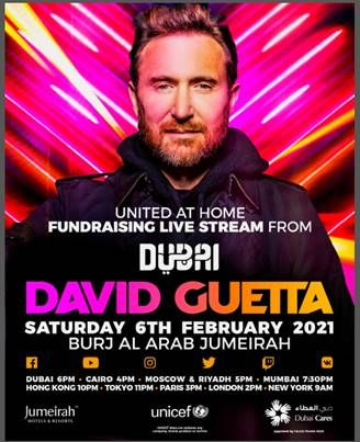 DAVID GUETTA TO HOST #UNITEDATHOME LIVESTREAM DUBAI EDITION ON FEB. 6, 2021! - @davidguetta -