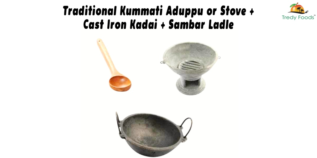 Traditional Kummati Aduppu or Stove + Cast Iron Kadai + Sambar Ladle  ⁠ #tredy #tredyfoods ⁠#castiron #kummattiaduppu #sambarladle  #ironkadai #kadai #bastingzara #pan #pans #sale #shopping #shoplocal #cookware #kitchenware #cooking #homecooking #kitchen