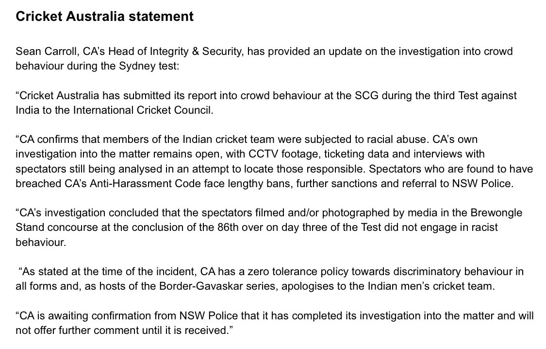 Cricket Australia's full statement on the abuse, including racial abuse, aimed at the Indian Cricket Team during the Third Test at the SCG.   'CA confirms that members of the Indian Cricket Team were subjected to racial abuse'.   #AUSvIND